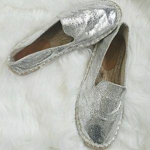 Asos Silver Loafer Flats 7 Jeannie Espadrilles